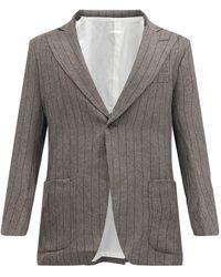 Needles Veste de costume en flanelle rayée - Gris