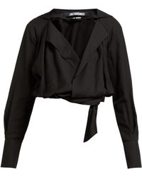 Jacquemus Figari Embroidered Cropped Shirt - Black
