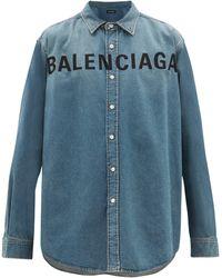 Balenciaga Logo-embroidered Cotton-denim Shirt - Blue