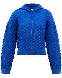 Stella McCartney Spiked-knit Hooded Sweatshirt - Blue