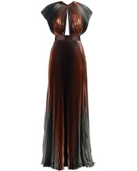 Givenchy - Metallic Pleated Silk Blend Gown - Lyst