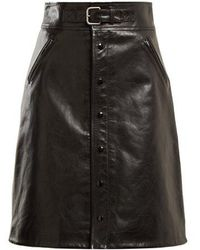 RED Valentino - High-rise Leather Skirt - Lyst