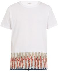 Valentino - Feather-print Cotton-jersey T-shirt - Lyst