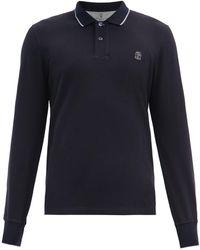 Brunello Cucinelli Crest-embroidered Cotton-jersey Polo Shirt - Blue