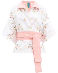 Rianna + Nina Kendima Floral-embroidered Cotton Shirt - Pink