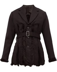Noir Kei Ninomiya Slit Faux Fur-lined Wool-gabardine Blazer - Black