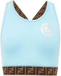 Fendi Ff-logo Stripe Performance Sports Bra - Blue