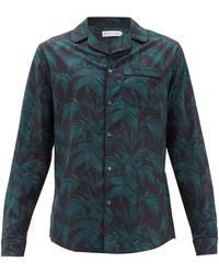Desmond & Dempsey バイロン コットンパジャマシャツ - ブルー