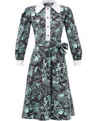 BATSHEVA - Face-print Cotton Midi Dress - Lyst
