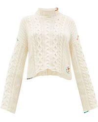 JW Anderson Logo-embroidered Cotton Sweater - White