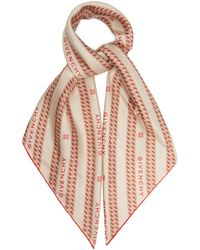 Givenchy Logo And Chain-print Silk-satin Scarf - Red