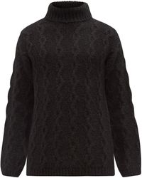 Our Legacy High-neck Cable-knit Jumper - Black