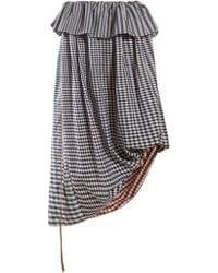 Loewe Asymmetric Gingham Cotton Twill Midi Skirt - Blue