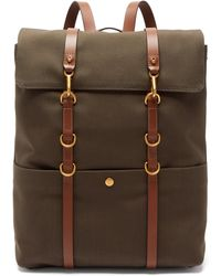 Mismo Leather-trim Canvas Backpack - Multicolour