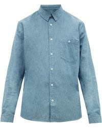 A.P.C. Chicago Patch-pocket Cotton-chambray Shirt - Blue