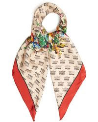 Gucci - Invite And Flowers-print Silk-twill Scarf - Lyst