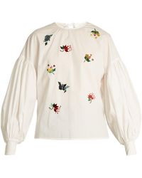 MUVEIL - Sequin-embellished Puff-sleeved Cotton Top - Lyst