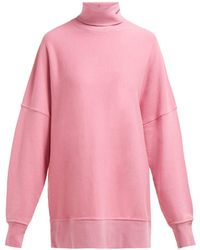 CALVIN KLEIN 205W39NYC Oversized Roll Neck Cotton Sweatshirt - Pink