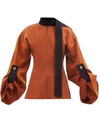 ROKSANDA Letizia Balloon-sleeve Wool-blend Twill Blouse - Brown