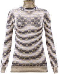 Gucci タートルネック ストライプ GGジャカードセーター - マルチカラー