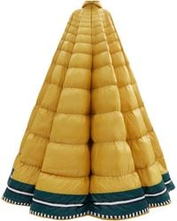 1 MONCLER PIERPAOLO PICCIOLI Erminia Hooded Striped Down-filled Gown - Yellow