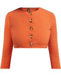 Lisa Marie Fernandez Cardigan en crépon à manches raccourcies - Orange