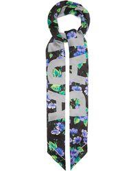 Balenciaga Foulard en soie à imprimé floral et jacquard logo - Multicolore