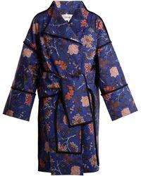 Diane von Furstenberg - Canton Floral Print Tie Waist Cotton Blend Coat - Lyst