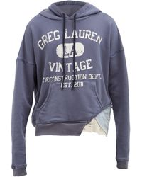 Greg Lauren ロゴ コットンスウェットパーカー - ブルー