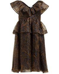 Ganni Tiger-print Organza Dress - Multicolour
