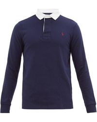 Polo Ralph Lauren Logo-embroidered Cotton-jersey Rugby Shirt - Blue