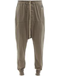 Rick Owens DRKSHDW Pantalon de jogging en jersey de coton à cordon - Gris