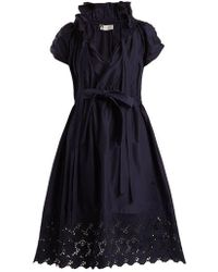 Lanvin - Ruched Cotton And Silk-blend Dress - Lyst