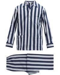 Derek Rose Royal Striped Cotton Pyjamas - Blue