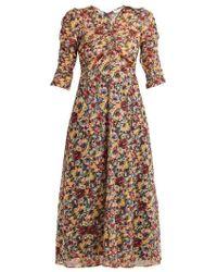 MASSCOB - - Mina Rose Print Cotton Midi Dress - Womens - Multi - Lyst