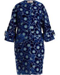 Marni - Coral-jacquard High-neck Velvet Coat - Lyst