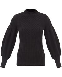 Zimmermann Puff-sleeved Cashmere Ribbed Sweater - Black
