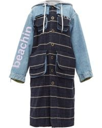 Natasha Zinko Oversized Denim And Checked Coat - Blue