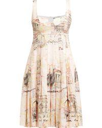 Emilia Wickstead - Claretta Italy Print Pleated Linen Dress - Lyst
