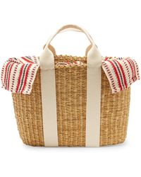 Muuñ Caba Striped Canvas And Straw Bag - Multicolour