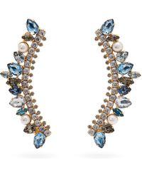Erdem Arch Crystal Embellished Earrings - Blue