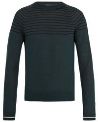 Prada - Crew-neck Striped Wool And Cashmere-blend Sweater - Lyst