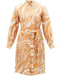 Emilio Pucci プリント シルクツイルシャツドレス - オレンジ