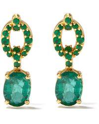 Nadine Aysoy Catena Emerald & 18kt Gold Drop Earrings - Green