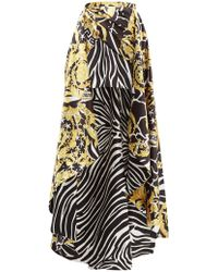 Versace Baroque & Zebra Print Duchess Satin Wrap Skirt - Black