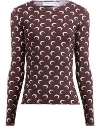 Marine Serre Crescent Moon Print Stretch Jersey Top - Brown