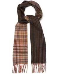 Paul Smith - Signature Stripe And Check Wool Scarf - Lyst