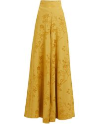 Johanna Ortiz Summer Love High Rise Floral Jacquard Pants - Yellow