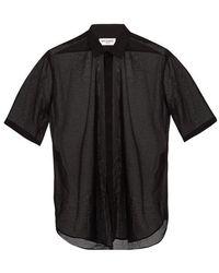 Saint Laurent - Short-sleeved Sheer Cotton Shirt - Lyst