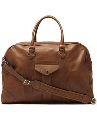 Brunello Cucinelli Logo-embossed Leather Weekend Bag - Brown